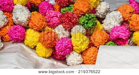 Colorful Rice cracker or puffed rice thai dessert