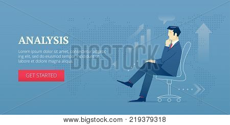 Vector banner template of businessman character in business suit sitting in a chair at an office and analysing. Vector concept for internet banners, social media banners, headers of websites and more