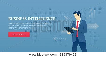 Vector banner template of businessman standing with a tablet PC and analysing business. Vector concept for internet banners, social media banners, headers of websites and more