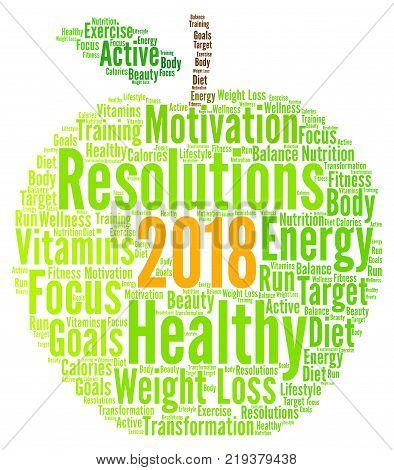 Healthy resolutions 2018 word cloud with a white background