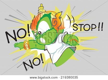 Thai giant acting and saying no with stop cartoon character design cute isolate illustrater has clipping paths.