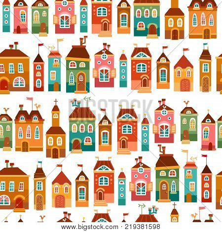 Cute bright childish house isolated on white background. Baby seamless pattern