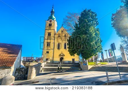 Scenic view at old colorful baroque church in Samobor town, croatian medieval landmarks.