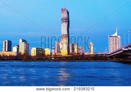 A view of buildings near the Alte Donau in Vienna