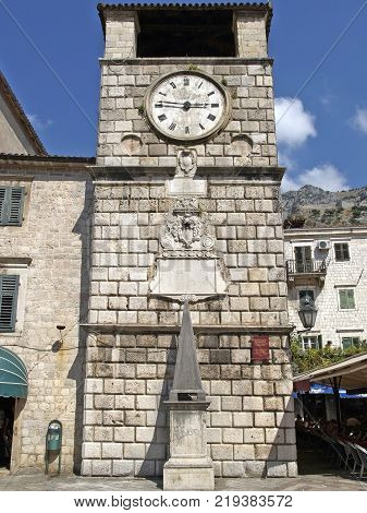 The Clock Tower one of the symbols of Kotor Montenegro was built in 1602. Below the Clock Tower there is the Pillar of Shame which was used for punishment of an accused person.