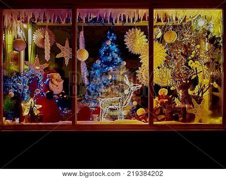 Christmas shop with festive decorations as lights