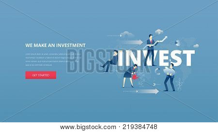 Vector illustrative hero banner of investment. Investment hero website header with men and women business characters around word 'invest' over digital world map