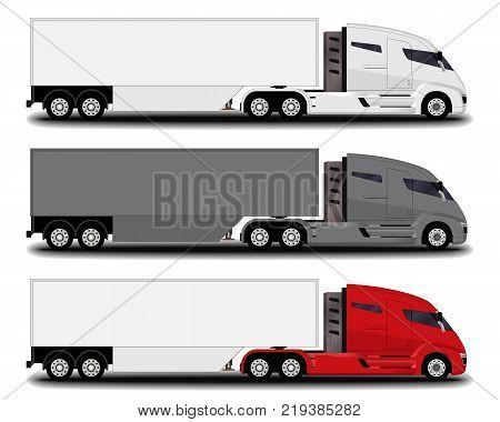 futuristic electric trucks set. side view. 3 different trucks