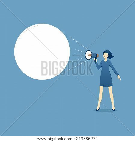 Business illustration of business woman in business dress with megaphone shouting an advertise or marketing slogan. Business template with space for text
