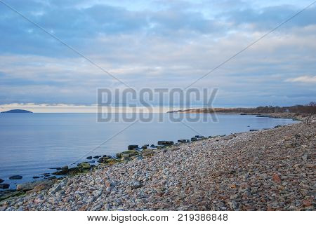 Idyllic bay with calm water at the swedish island Oland in the Baltic Sea