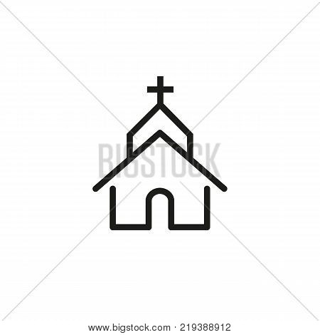 Line icon of church. Cathedral, famous place pointer, Christianity. Religion concept. Can be used for signboards, poster, brochure pictograms