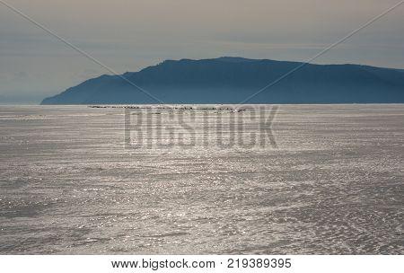 ice hummocks on the winter Baikal. ice bound Baikal. boundless distance.
