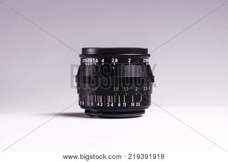 35mm film camera lens isolated on background