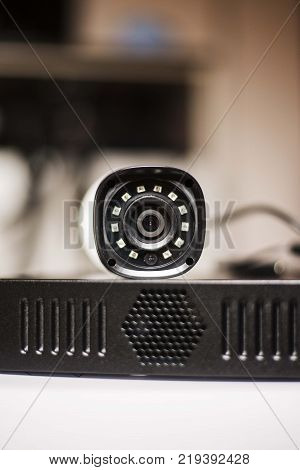 video security camera standin on dvr device