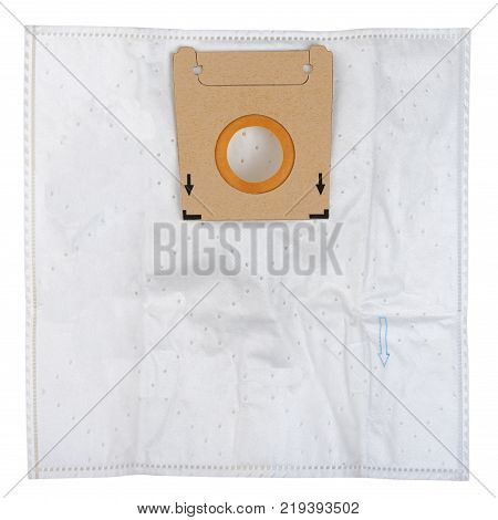 Non-woven disposable dust bag for vacuum cleaner isolated on white