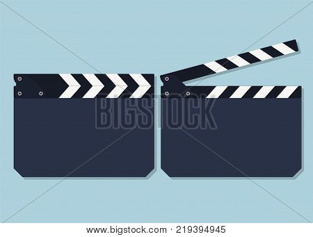 Clapper board icons isolated on blue background. Vector illustration