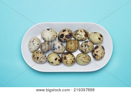 A photo from above of small uncooked quail eggsin white porcelain plate on the blue table. An overhead photo of quail eggs Easter rustic background