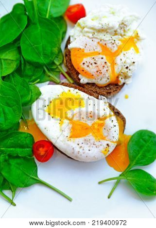 Tasty poached eggs on the bread with fresh green baby spinach and cherry tomatoes on the white plate, healthy dietary breakfast, delicious organic nutrition