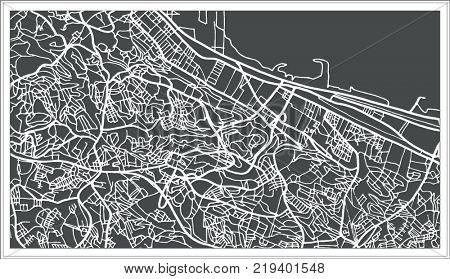 Algiers Algeria Map in Retro Style. Outline Map.