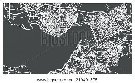 Izmir Turkey Map in Retro Style. Outline Map.