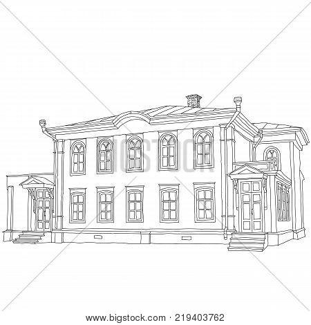 House sketch two-storey wooden house Ulyanov Lenin. Vector illustration.