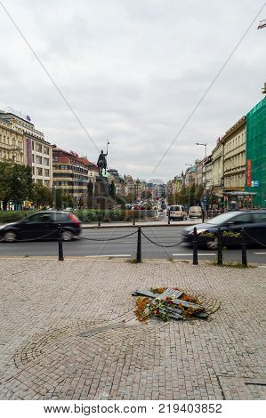 Memorial built in public sidewalk in Prague is dedicated to Jan Palach and Jan Zajic. In 1969 they burned himselves on this place to protest against russian invasion in august 1968 to Czechoslovakia.