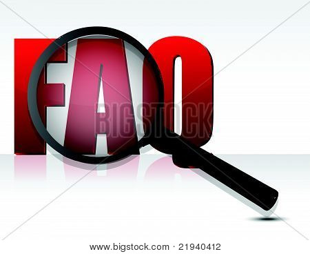 FAQ sign enlarged by a magnifying glass