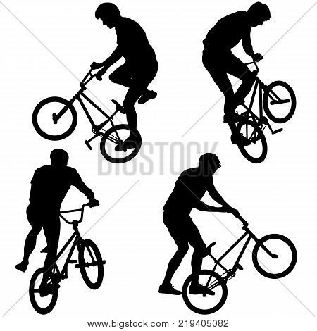Set silhouette of a cyclist male performing acrobatic pirouettes. vector illustration.