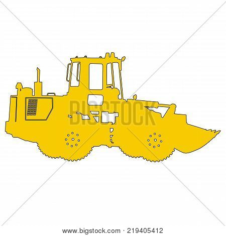 Silhouette of a heavy loaders with a ladle. Vector illustration.