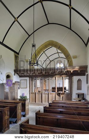St Michael's Church Blackford South Somerset Grade II listed 12th century Church with Screen added 1916