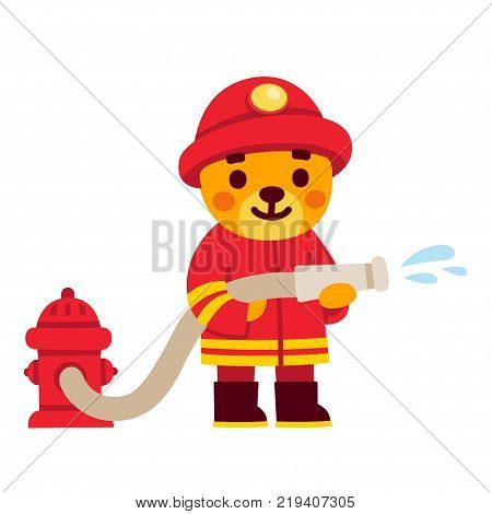 Cute cartoon firefighter character. Teddy bear in fireman uniform with water hose and fire hydrant. Hand drawn vector illustration.