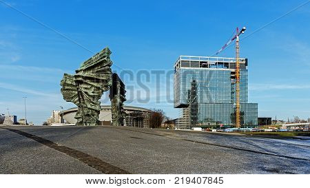 KATOWICE, POLAND - DECEMBER 11, 2017: Silesian Insurgents' Monument in Katowice. Unveiled in 1967, monument commemorates Silesian uprisings against German authorities in the years 1919-1921.