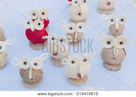 Colourful owl dolls made of jute artworks of handicraft at Handicraft Fair in Kolkata - the biggest handicrafts fair in Asia.