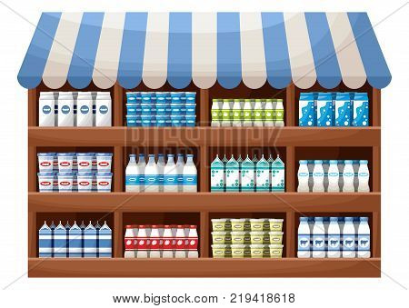Dairy product farmer shop. Counter with products. Vector
