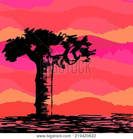 Hand drawn black tree without leaves on red foggy smoky misty . Branches of baobab plant on vector illustration. Simple sketch.
