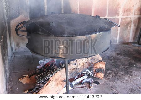 Cooking On The Disks Of Plowing The Land Typical Kitchen Of The Pampa Argentina