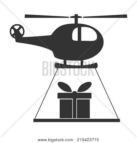 Black and white helicopter icon isolated on background with present. Chopper rotorcraft in dark color. Simple vector illustration symbol.
