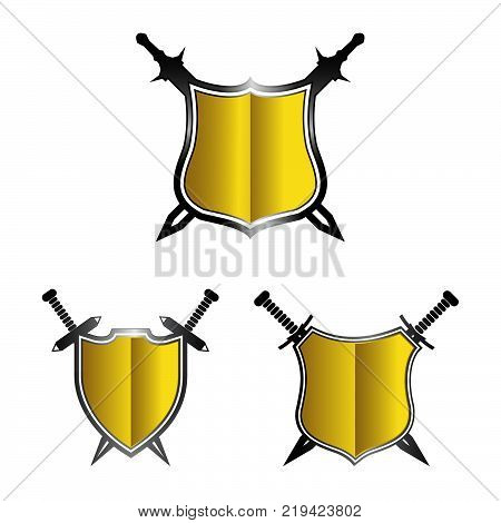 Shield and sword sign. Abstract shield and sword icon.set color shield eps 8.eps 10
