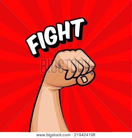 The human hand, the fist is raised up agitating the fight. The struggle for rights, political views. Red background revolution poster with fit. Vector illustration
