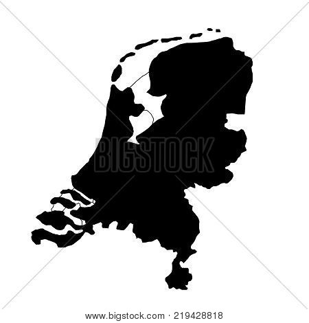 black silhouette country borders map of Netherlands on white background of vector illustration