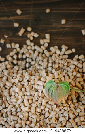 Fresh flower and wooden pellets over brown background.
