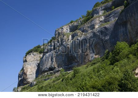 Cliffs of Baume-les-messieurs in the Jura Franche-Comte France