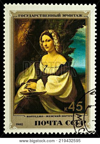 Moscow Russia - December 23 2017: A stamp printed in USSR (Russia) shows portrait of a woman by Correggio (1489-1534) series