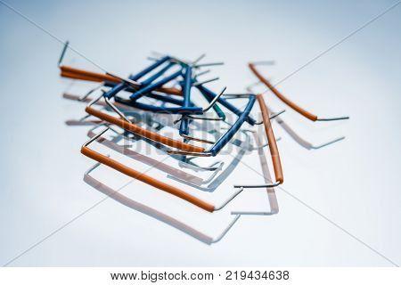 electrical jumper kit on white background. components for electrical circuit configuration. microelectronics industry