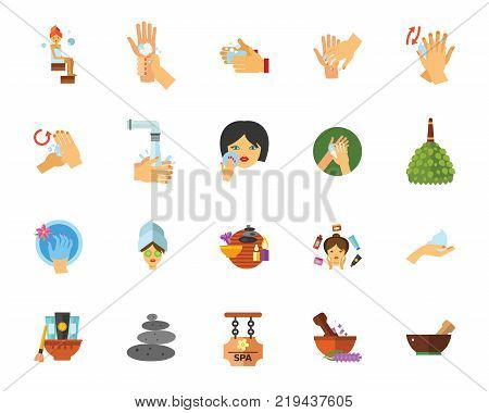 Bathroom icon set.Can be used for topics like hygiene, daily routine, spa, body care poster