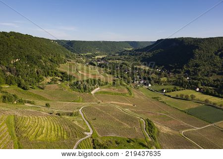 Valley in the Chateau-Chalon Jura Bourgogne-Franche-Comte France