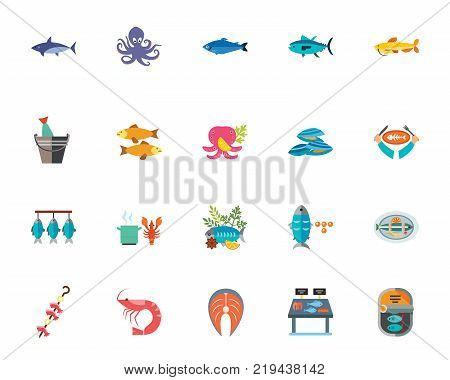Sea food icon set.Can be used for topics like gastronomy, restaurant, menu, delicacy