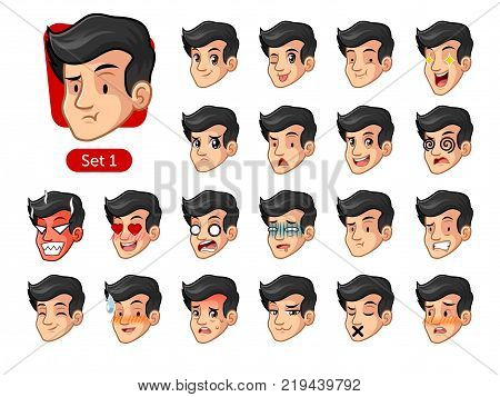 The first set of male facial emotions cartoon character design with black hair and different expressions, pleased, rage, in love, ill, silent, grumpy, irritated, shy, worried, etc. vector illustration.