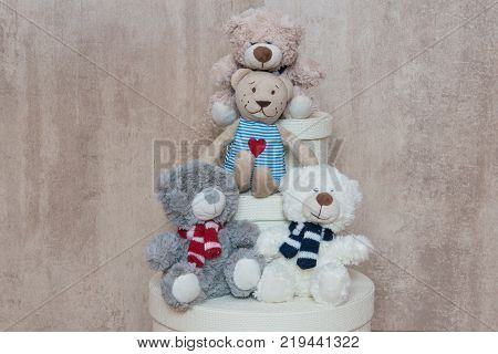 Three friends Teddy from the box for little girls and boys