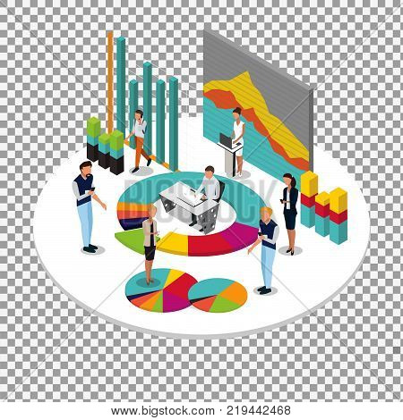 Data Analytics vector concept: isometric business people and data diagram. Business infographic on transparent background. -stock vector